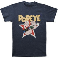 Popeye Men's  Tank T-shirt Heather Navy Rockabilia