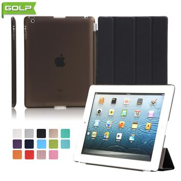 GOLP Case for iPad 2 3 4 Attractive Perfect Fit 2 In 1 Magnet PU Leather Smart Cover PC Translucent Back Case for iPad 2 4 A1430