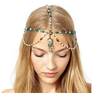 Handmade Vintage Carved Wooden Turquoise Beads Pearl Head Chain Hair Jewelry
