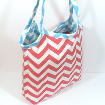 Summer Beach Bag, Large Beach Bag, Beach Purse, Chevron Beach Bag, Bag for Summer, Bag for Beach, Canvas Beach Bag, Shoulder Bag, Coral Bag