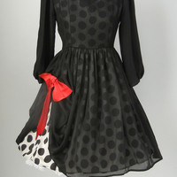 Vintage 1950s Style Black & White Polka Dot Illusion Swing Dress, Medium