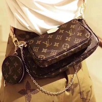 FREE SHIPPING-LV Louis Vuitton POCHETTE chain bag shoulder bag three-piece suit