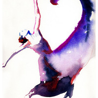 Dancer Print, Archival Prints, Dancer Art Print from Watercolor painting.  Titled - Dancer with heart