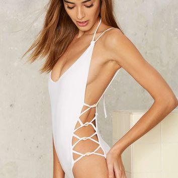Moon Dust Lace-up Swimsuit