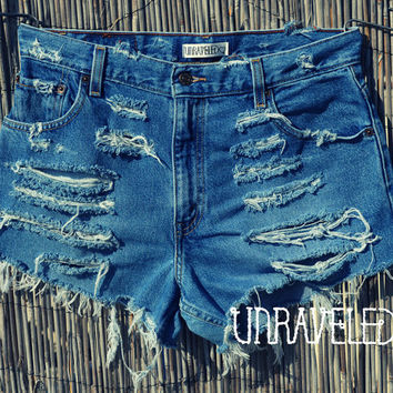 Trashed High Waisted Levis (MEDIUM to LARGE)