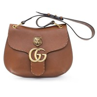 Gucci Gg Marmont Leather Shoulder Bag Brown Tiger Authentic New