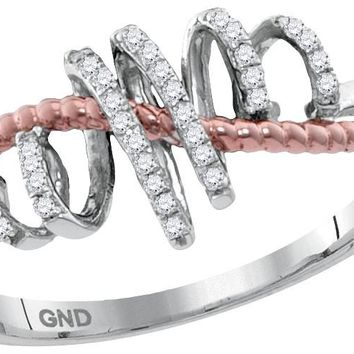 10kt White Gold Womens Round Diamond Pink-tone Rope Spiral Band Ring 1/10 Cttw