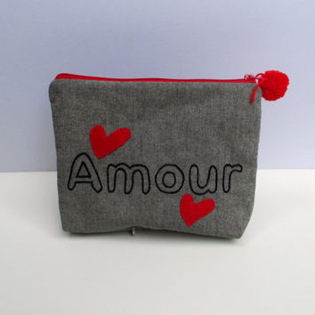 Amour pouch , handmade, hand embroidered, red zipper close, clutch,Cosmetic bag, Pencil case, ooak