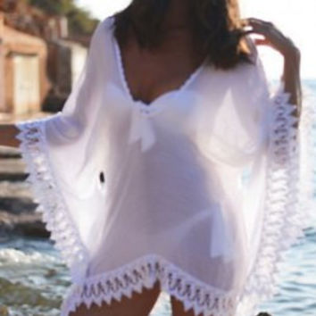 White Lace V-Neck Cover-up