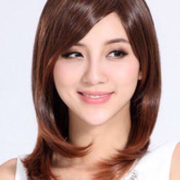 Chestnut Brown Side-Swept Bangs Shoulder Length Wig