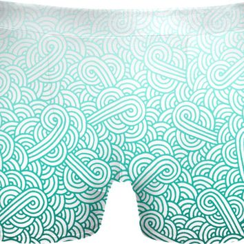 Gradient turquoise blue and white swirls doodles Underwear