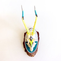 TURQUOISE & NEON YELLOW, teal, grey geometric triangle arrow aztec painted modern taxidermy mounted deer skull antlers bright art decor