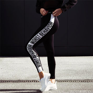 Fashion Casual Simple Stretch Breathable Stripe Letter Print Yoga Leggings Long Sweatpants