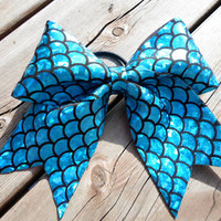 Blue Fish Scale Spandex Bow