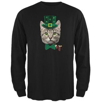 LMFCY8 St. Patrick's Funny Cat Black Adult Long Sleeve T-Shirt