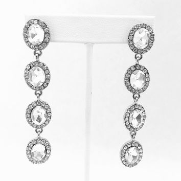 Crystal Night Silver Earrings