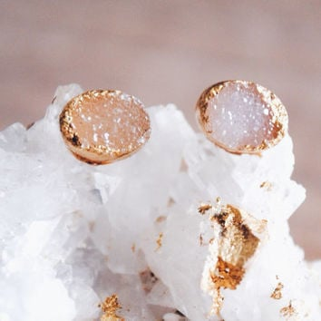 Druzy Stud Earrings, Oval Druzy, Tiny Stud Earrings, Druse Stud Earrings, Gold Druzy Stud Earrings, Geode Studs