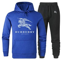 Burberry Autumn And Winter New Fashion Letter War Horse Print Women Men Sports Leisure Hooded Long Sleeve Top And Pants Two Piece Suit Blue