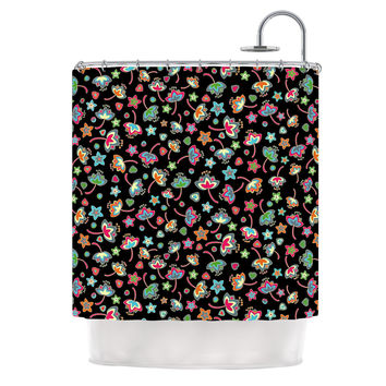 "Julia Grifol ""Sweet Flowers"" Multicolor Black Shower Curtain"