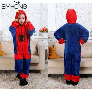 SMHONG Onesuit Spider Man Children Clothing Sets Flannel Spiderman Party Cosplay Costume Kids Spider-man Funny Pajama Sets