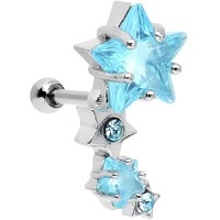 Stainless Steel Blue CZ Star Cluster Right Tragus Cartilage Earring