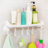 4 Colors Powerful Suction Bathroom Racks Practical Corner Hanging Storage Towel Rack With Hook Toothbrush Holder Cup Organizer