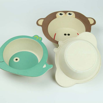 Children's Food Feeding Training Bowl Baby Cartoon Bamboo Feeding Plate Kids Rice Fruit Soup Feeding Dishes Toddler Food Plates
