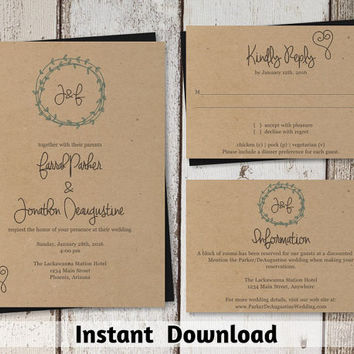 Wedding Invitation Template - Wreath & Heart Printable Set - Kraft Paper | Easy Editable PDF Instant Download - Simple Line Drawing