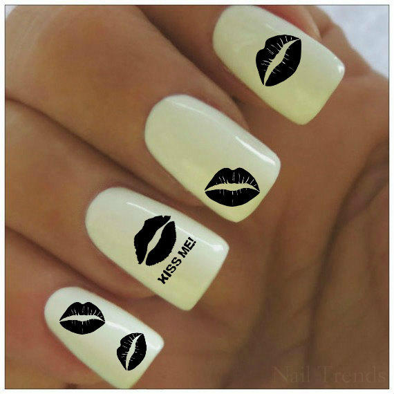 Valentine Nail Decal 20 Kiss Me Vinyl From Nailtrends On Etsy
