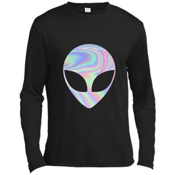 Holographic Alien Head Party  men and women Long Sleeve Moisture Absorbing Shirt