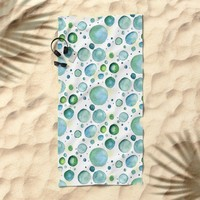 Bubbles Watercolor Beach Towel by Doucette Designs