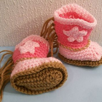Baby Boy Girl Cowgirl Boots,shoes,Pink Fringe,Baby Shower Gift,#198