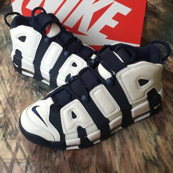 NIKE AIR MORE UPTEMPO OLYMPIC 2016 USA Navy Blue White Pippen Basketball Shoes 414962