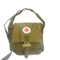 Soviet army medical bag shoulder strap vintage red cross steampunk khaki green new old stock