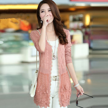 Women Lace Crochet Patchwork Cardigans Sweater 2016 Hot Sale Long Sleeve Loose Large Size Casual Md-long Thin Knitted ZL3374