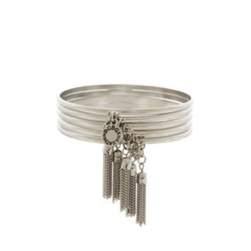 Chain Tassel Bangle Set in Grey - BCBGeneration