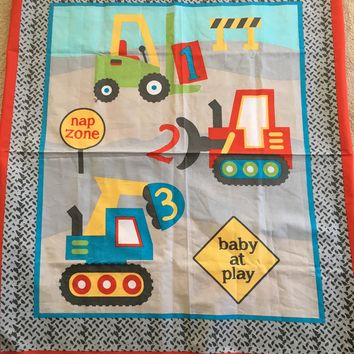 Children's Fabric CONSTRUCTION ZONE - Cotton Fabric Panel from Springs Creative