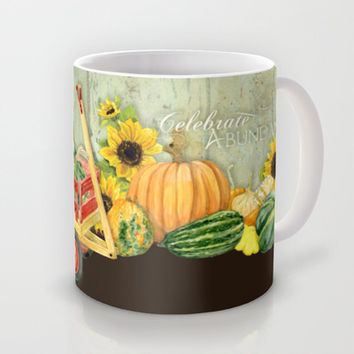 Celebrate Abundance Fall Harvest Sunflower Pumpkin Squash Art Mug by Audrey Jeannes