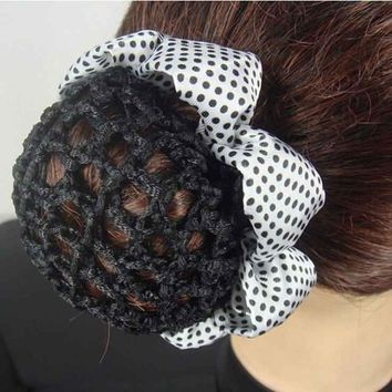1PC Fashion Girl Women Dot Shiny Bun Cover Snood Ballet Dance Skating Hair Net Crochet Hairband Hair Accessories 2016 New