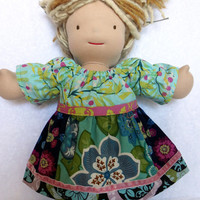 15 inch Waldorf doll dress, 18 inch American Girl doll dress, Bitty Twin Bitty Baby m2m Matilda Jane Gracies Smile peasant dress navy aqua