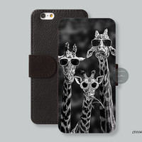 Giraffe Glasses Leather Wallet iPhone 6 case iPhone 6 plus case, Wallet cover iPhone 5s case iPhone 5c case Galaxy s3 s4 s5 Note3 - C00049
