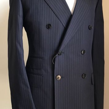 New $3255 Gucci Double Breasted Suit Caspian Blue Striped 46R US ( 56R Eu) Italy