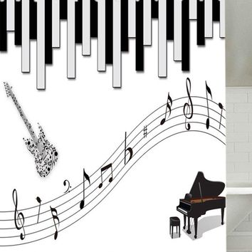 Piano and Music Score Print Waterproof Fabric Shower Curtain