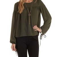 Olive Long Sleeve Tied-Cuff Swing Top by Charlotte Russe