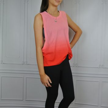 Pink Ombre Net Athletic Muscle Shirt