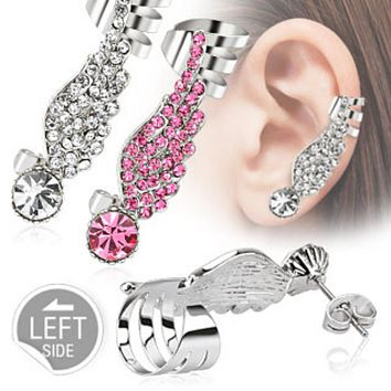 Angel Wing WildKlass Ear Cuff with Pave Gems 316L Surgical Steel (Sold by Piece)