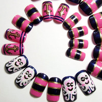 Fake Nails - Kawaii & Nautical Press On False Nail Set - Hand Painted Artificial Acrylic Nails - Pink, Navy and Gold Stick On Glue On Nails