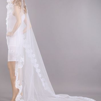 Scallop lace edge mantilla veil #vm5004-110