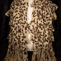 Animal Leopard Print Ruffle Scarf Light Brown and Tan