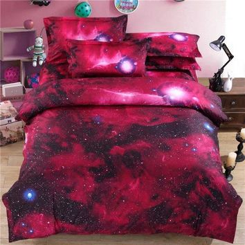 Red Color Galaxy 3D Polyeser 3pcs/4pcs Duvet Cover Set with Quilt Cover ,Bed Sheet,Pollowcase